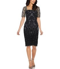 adrianna papell mesh-sleeve beaded dress