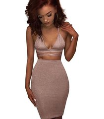 women sexy sparkly bodycon 2 piece dresses 2017 halter lace up crop top skirt tw