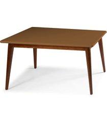 mesa de madeira retangular 140x90 cm novita 609 cacau/marrom médio - maxima