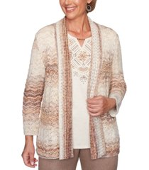 alfred dunner first frost pointelle open-front cardigan