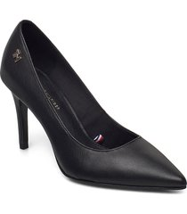 essential leather high heel pump shoes heels pumps classic svart tommy hilfiger