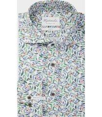 michaelis vrolijk poplin shirt met details van gekleurde bladeren slv7