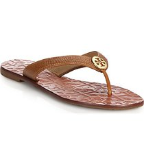 thora tumbled leather thong sandals