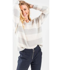 women's olivette striped knot back sweater in olive by francesca's - size: 3x