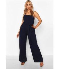 plus scallop retail wide leg self belt jumpsuit, navy