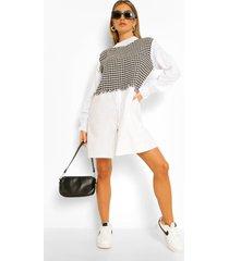 dogtooth blouse jurk met hemd, white