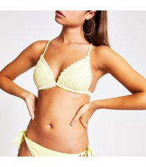 river island womens yellow embroidered triangle bikini top