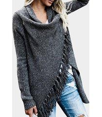 suéter de manga larga con detalles de borlas gris oscuro