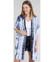 kimono feminino longo estampado tie dye com fendas manga curta azul marinho