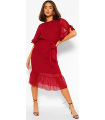 dobby mesh tie belt full sleeve midi dress, berry