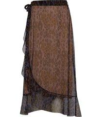 skirt in tiger print w. wrap effect knälång kjol multi/mönstrad coster copenhagen