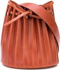 mansur gavriel mini pleated bucket bag - brown