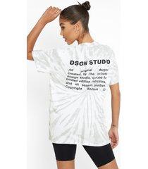 oversized tie dye t-shirt met rugopdruk, light grey