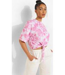 tie dye t-shirt met strik en rugopdruk, pink