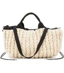 muun knitted wool tote - neutrals