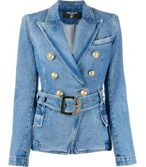 balmain belted denim blazer - blue