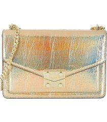 karl lagerfeld paris women's mini corinne faux leather shoulder bag - metallic