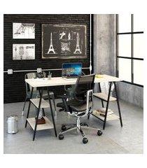 mesa de escritório kuadra iii bege 150 cm