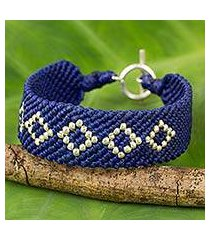 silver and polyester braided bracelet, 'blue geometric' (thailand)