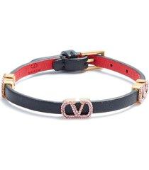 women's valentino garavani crystal vlogo leather bracelet