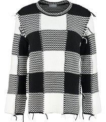 red valentino cotton blend crew-neck sweater
