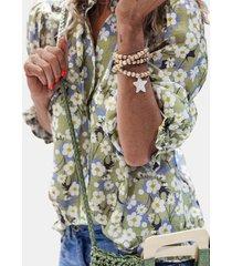 camicetta con manica elastica per colletto stampato floreale