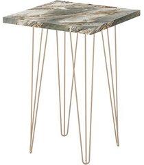 mesa lateral quadrada 62,5 petra pé de ferro dourado-líder design