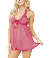 icollection women's stretch babydoll 2pc lingerie set