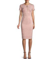 partial zip short-sleeve sheath dress