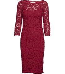 dress 3/4s knälång klänning röd rosemunde