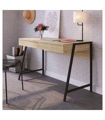 mesa escrivaninha urban pinus 125cm artesano 2 gavetas carvalho e preto