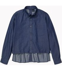 tommy hilfiger men's adaptive seated fit solid shirt dark indigo - xxl