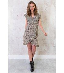 cheetah ruffle jurk beige