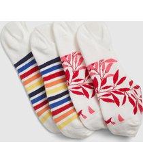 lane bryant women's 2-pack no-show socks - stripes & flowers onesz flame scarlet