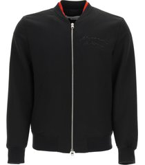 alexander mcqueen bomber jacket with logo embroidery