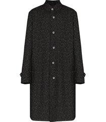 portvel mac reflective tweed overcoat - black