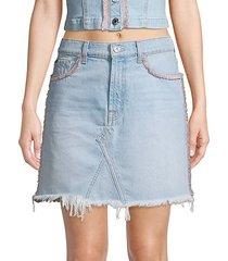 fringed denim mini skirt