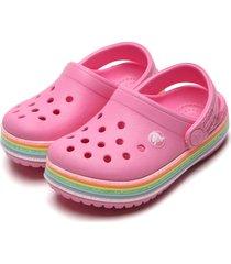 babuche crocs infantil rainbow glitter rosa - tricae
