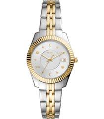 fossil women's mini scarlette two-tone bracelet watch 32mm