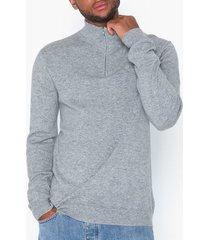 les deux cashmerino zipper knit tröjor light grey melange