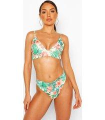 tropical floral triangle mix & match bikini top