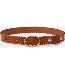 leather effect belt mandalas - brown - 95