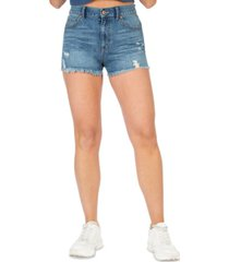 rewash juniors' high rise distressed jean shorts