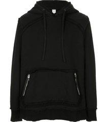 carpe diem casual raw hem hoodie - black