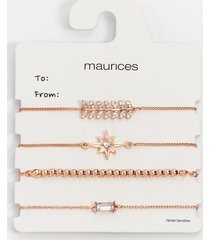 maurices womens rose gold mixed pull knot bracelet set