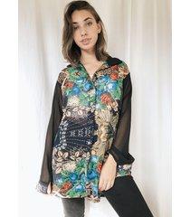 camisa negra a lo juana oversize mexico flowers
