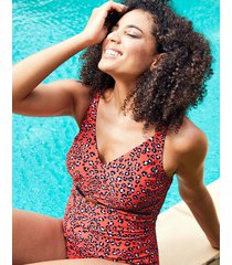 mala underwire belted tummy control leopard print one-piece swimsuit - longer length d-gg