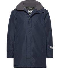 dubliner insulated long jacket regenkleding blauw helly hansen