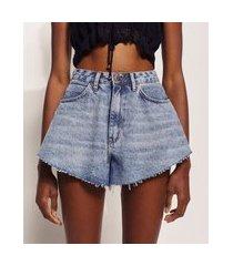 short jeans feminino hype beachwear godê cintura super alta marmorizado azul claro