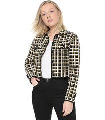casaco forum tricot xadrez preto/amarelo - kanui